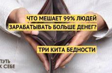 Что мешает 99% людей зарабатывать больше денег? Три кита бедности.